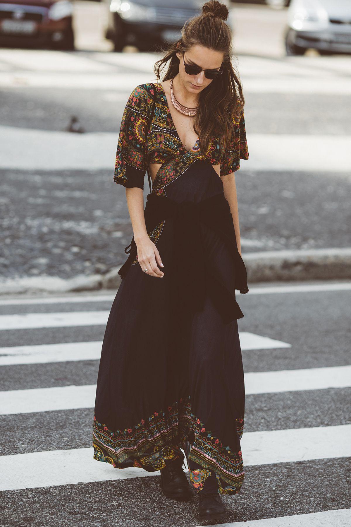 Resultado de imagem para vestido hippie street style