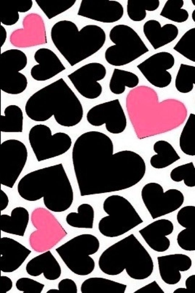 Pink And Black Hearts Iphone Wallpaper Girly Heart Wallpaper