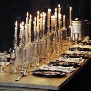 Don't throw out the used wine bottles, soak the label off and add a taper!  Candle-lightful