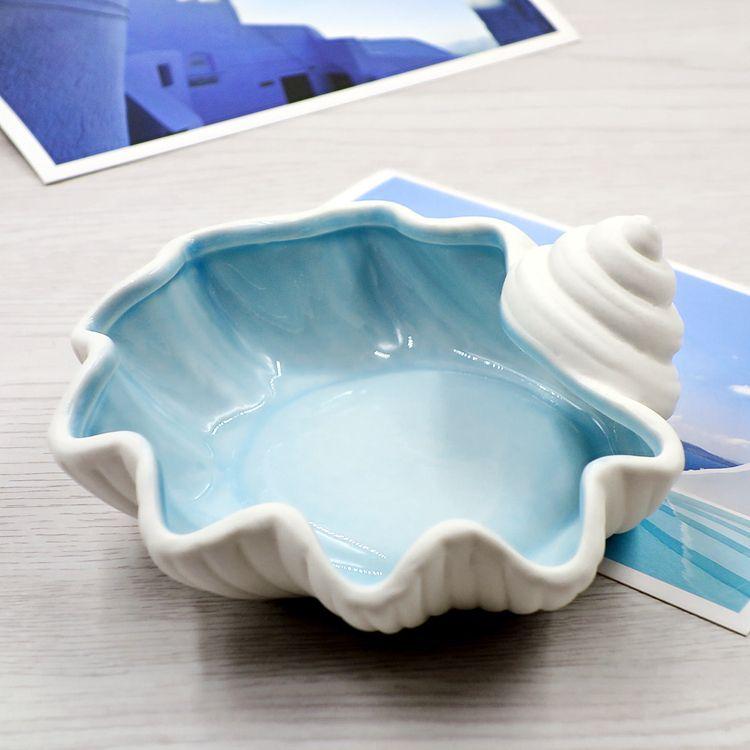 Mediterranean Ceramic Starfish Shell Conch Ashtray Candy Jewelry Storage Plate Home Decor Porcelain Figurine Wedd Plates And Bowls Porcelain Figurines Ceramics