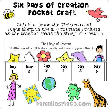 Six Days Of Creation Pocket Craft For Sunday School From Daniellesplace