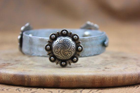 Up-Cycled Blue Knitting Needle Bracelet by JustSouthOfUrban