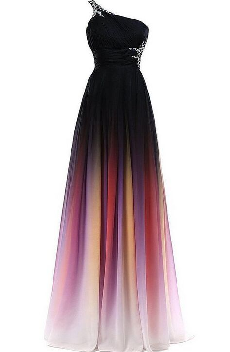 One Shoulder Long Ombre Chiffon Prom Dresses Simple Cheap