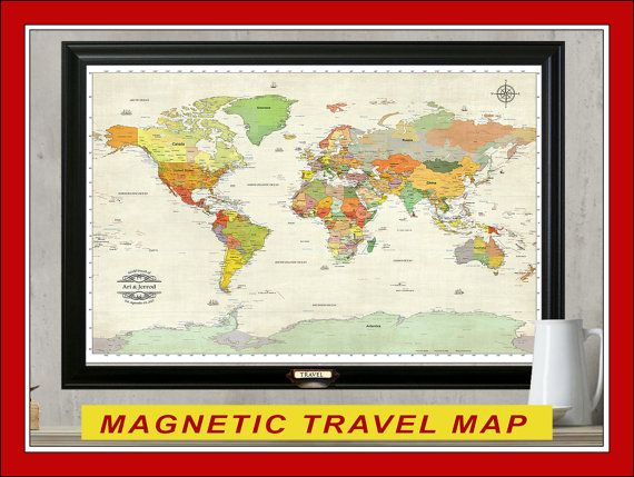 Magnetic travel map personalized map 24x36 par thetravelmapstore push pin world travel map personalize your map framed gumiabroncs Images