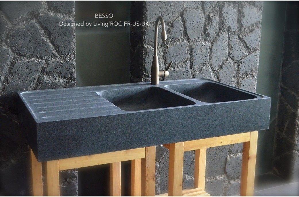 120x60x17 Evier Cuisine Pierre Granit 2 Cuves Egouttoir Besso