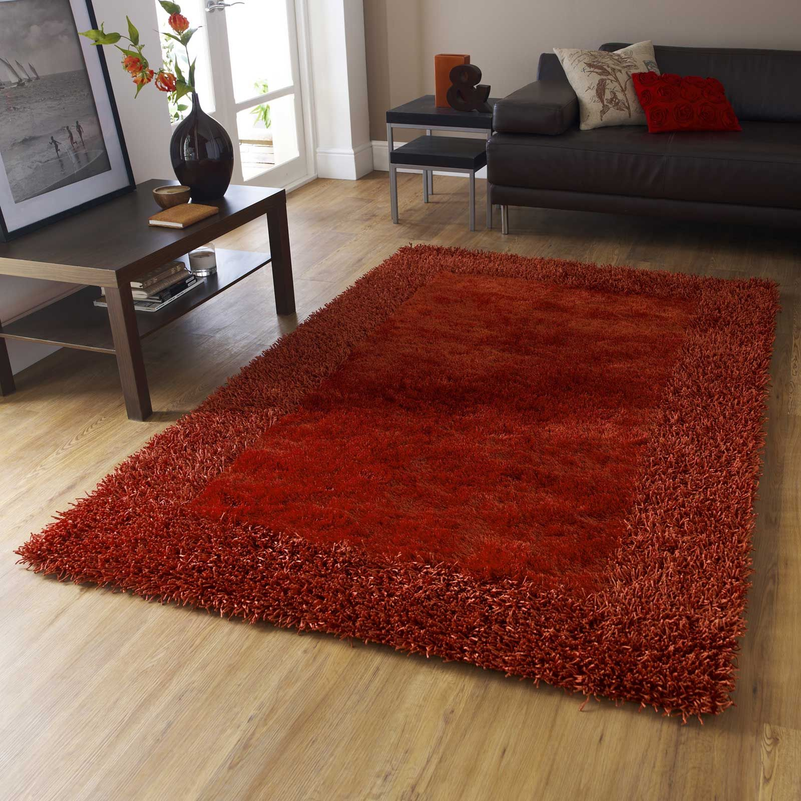 Sable 2 Rugs In Burnt Orange Is Handmade China With A Soft Silky Polyester Pile Contrasting Viscose Border The High Density Mad