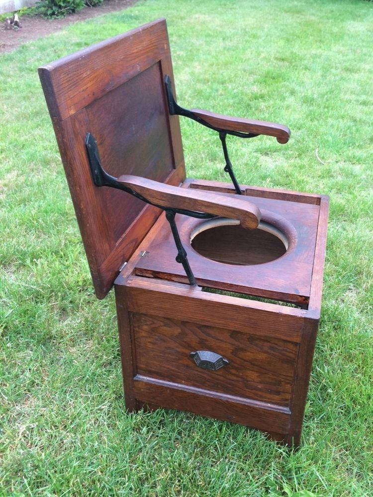 Antique Wooden Chamber Pot Commode Chair Toilet Box Seat