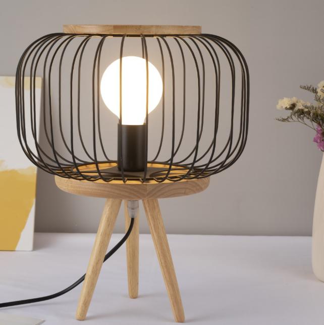 Deep Lighting Tripod Wood Base With Metal Mesh Shade Table Lamp Table Lamp Lamp Table