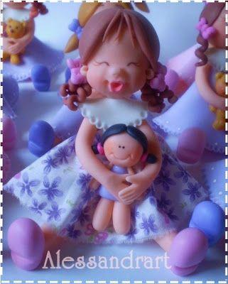 Ateliê Alessandra Caldeira Modelagem em Biscuit: Bonequinha Cute