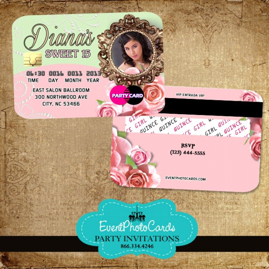 Floral Roses Quinceanera Invitations Credit Card