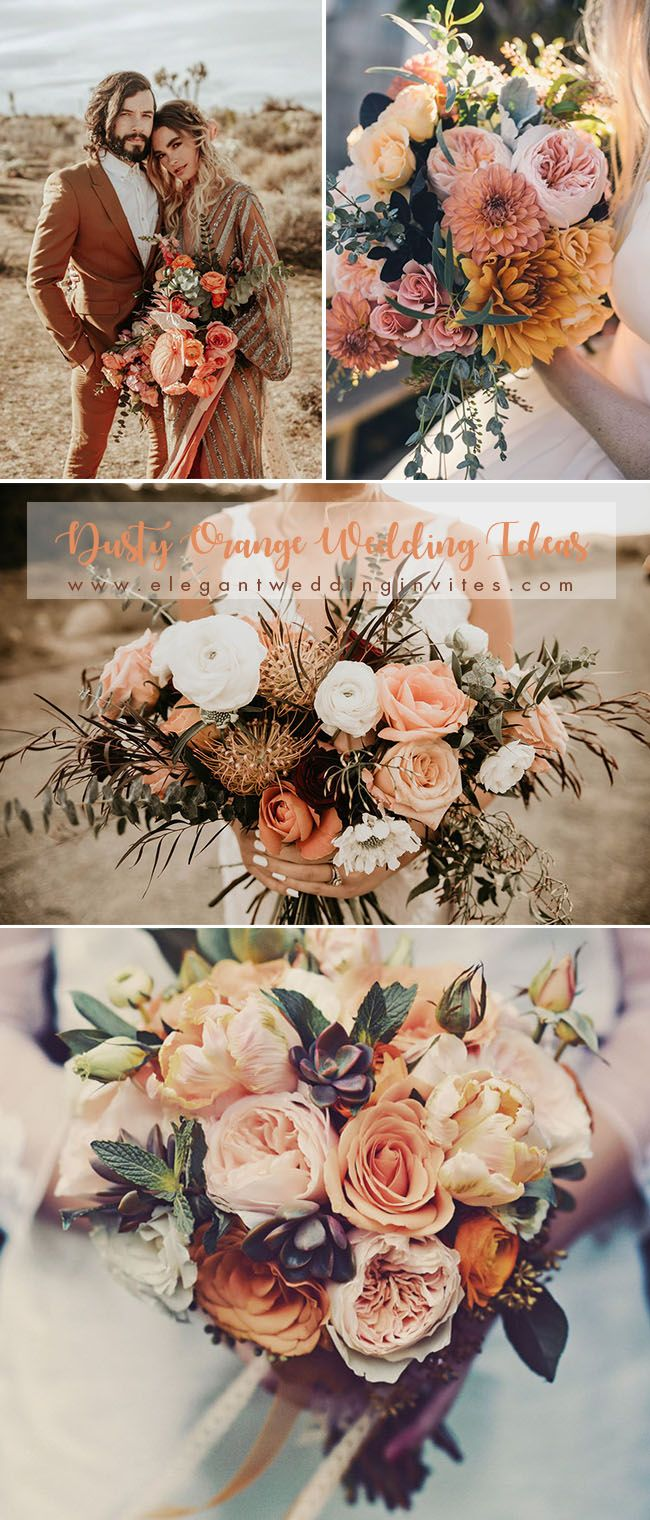 Wedding table decorations mason jars january 2019 Wedding Trends  Stunning Dusty Orange Wedding Color Ideas for