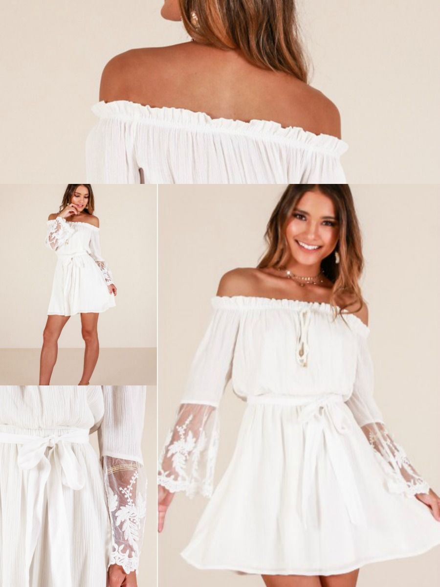 Cute, off-the-shoulder dress with lace. It's even available in plus sizes. #ad #fashion #whitedress #whitedresses #fashion #countrygirl #countrygirlclothes #countrygirlclothing