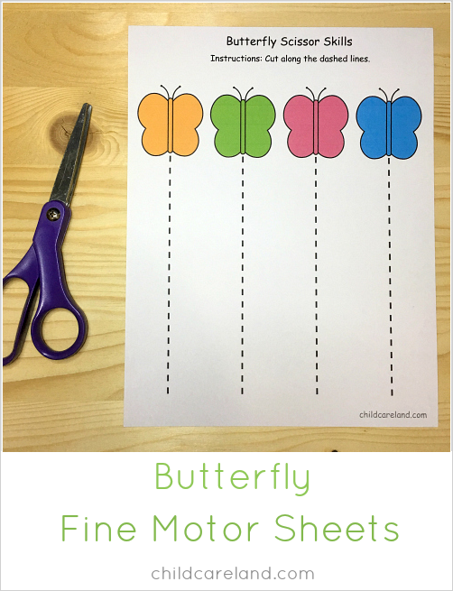 Butterfly Fine Motor Sheets For Scissor And Pre Writing Skill Comes In Both Black And White As