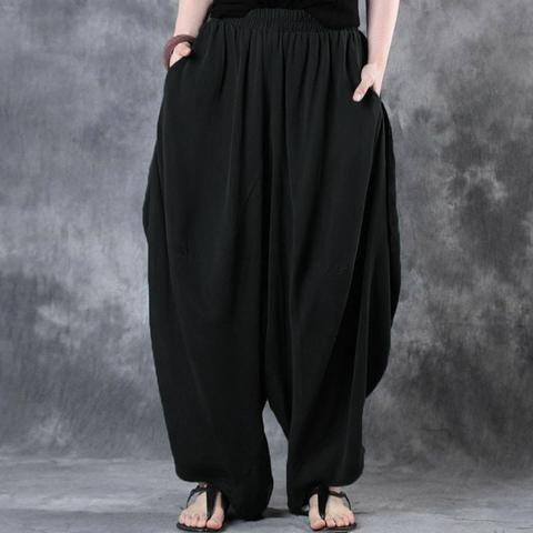 fee1d2727d0 2018 ZANZEA Woman Trousers Cotton Linen Loose Wide Leg Pants Elastic Waist  Vintage Casual Solid Baggy