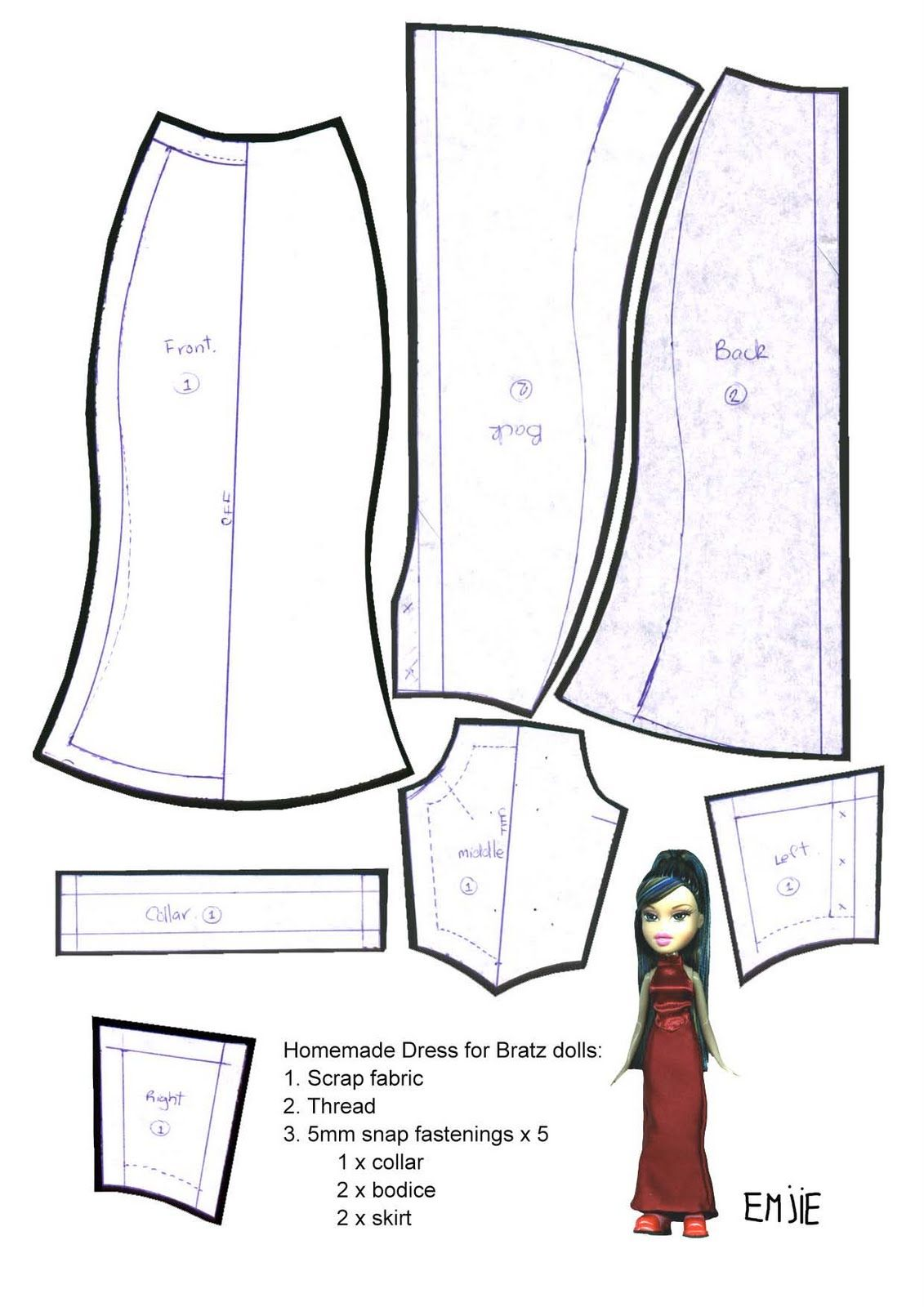 Revered image in barbie doll clothes patterns free printable