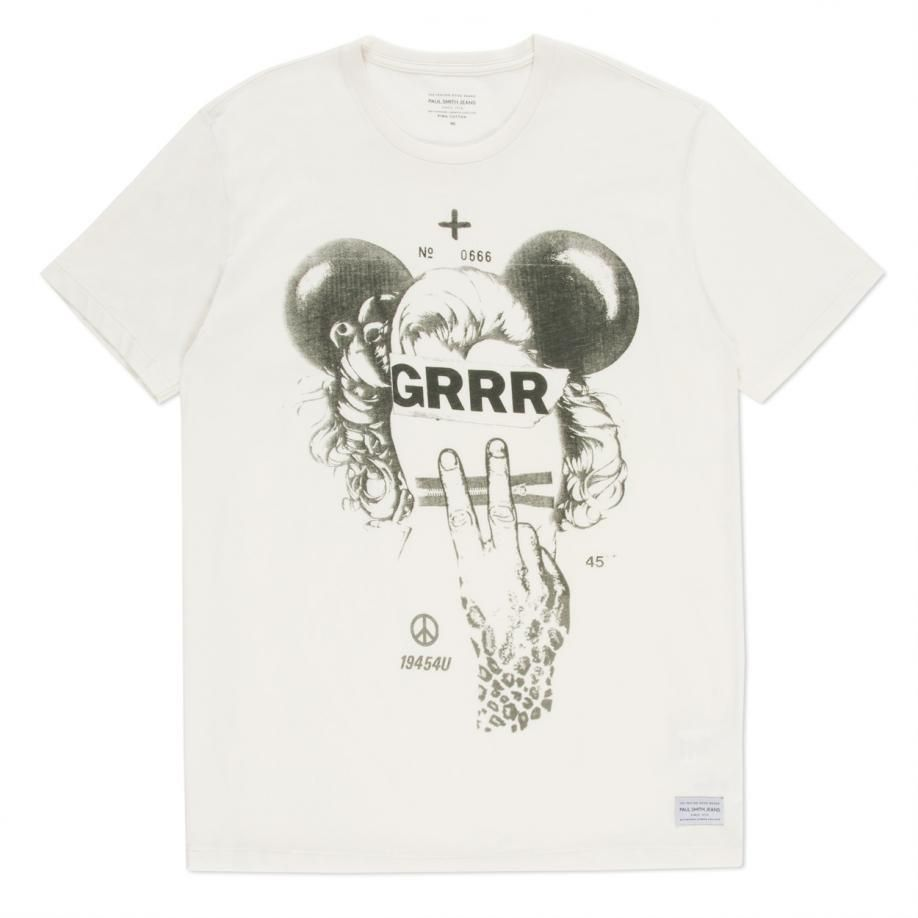 1137cd81826b Paul Smith Men s Slim-Fit White  Grrr  Print Pima Cotton T-Shirt ...