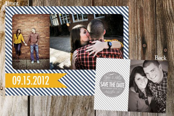 Nautical Stripe Save the Date by Mostaza Seed Graphics- http://mostazaseedgraphics.etsy.com