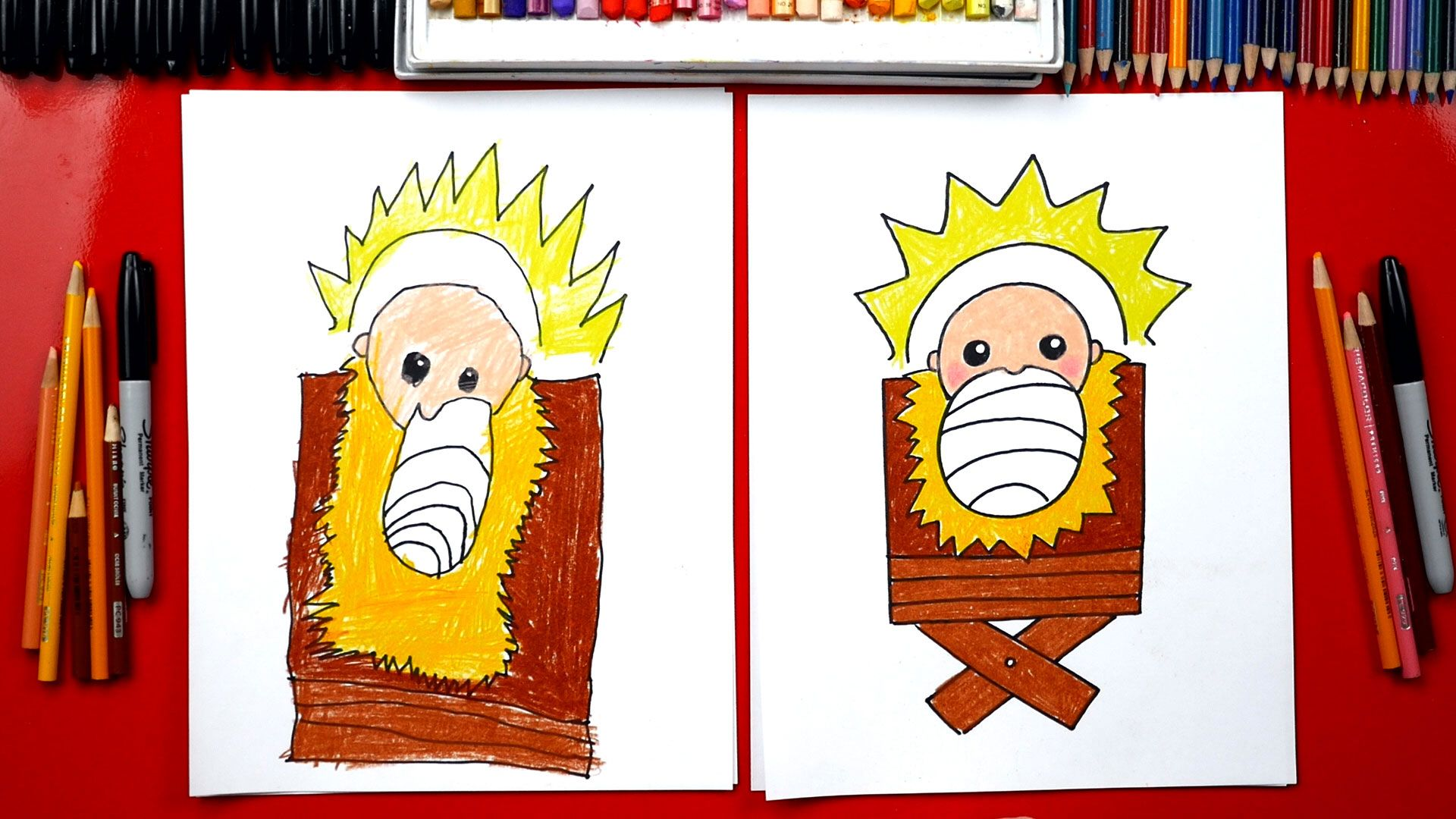 How To Draw Baby Jesus In A Manger - Nativity - Art For ...