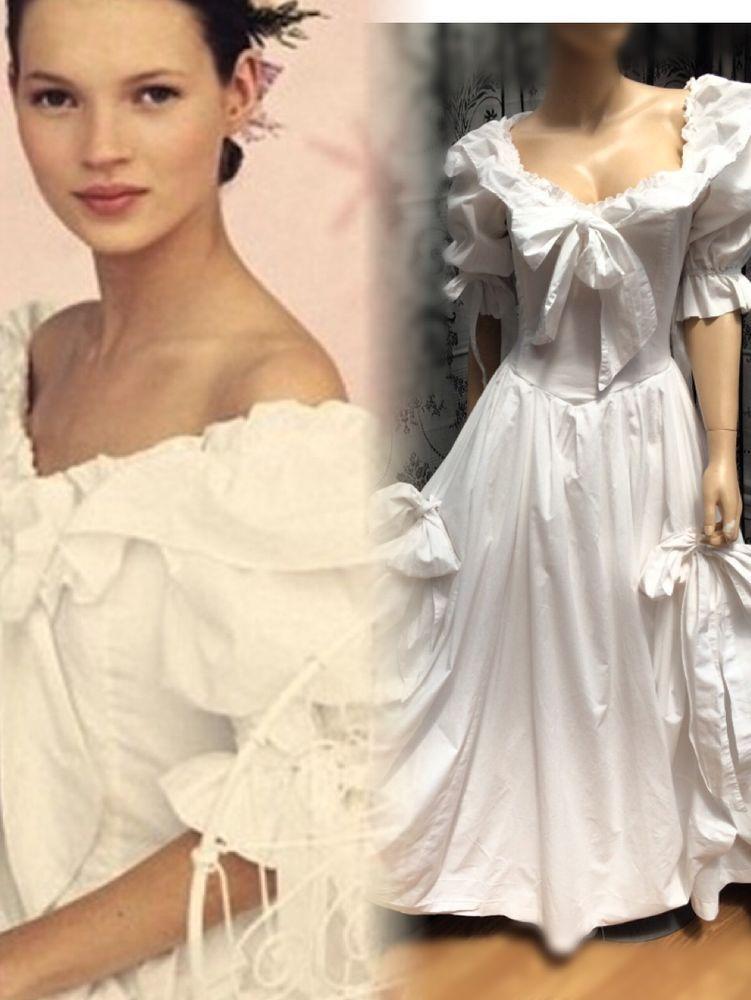 Vintage Laura Ashley White Victoriana Wedding Dress 10 12 Platya