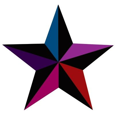 Nautical Star Tattoo With Multicolored Star Tattoo Designs
