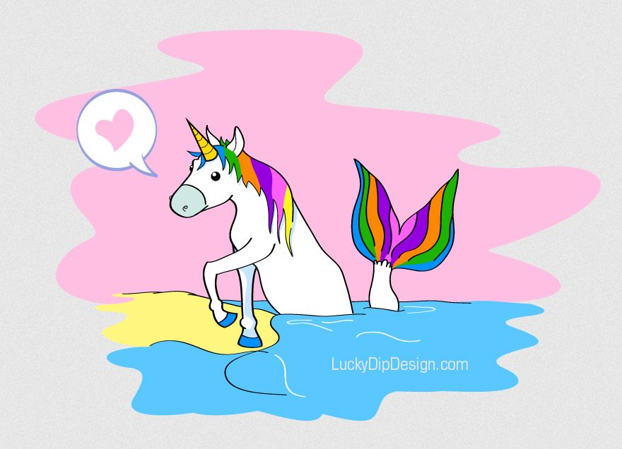 Picture of a unicorn leaning on the beach with a mermaid tail sticking out of the water