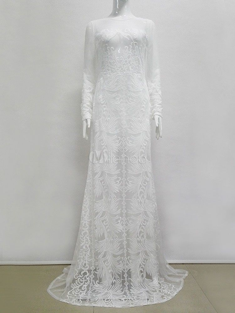 0f13a701aa24 Lace Maxi Dress White Long Sleeve Round Neck Semi Sheer Backless Jacquard  Long Dresses For Women