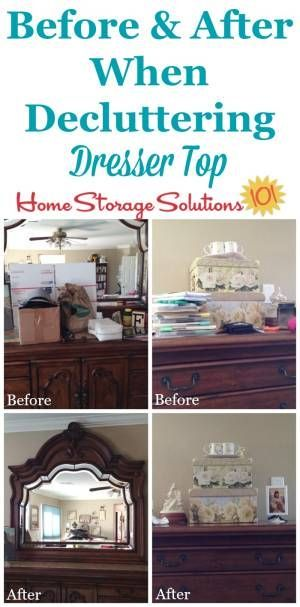Before And After Of Decluttered Dresser Top To See The Difference Clearing Off This Flat Surface Makes In Your Bedroom Featured On Home Storage