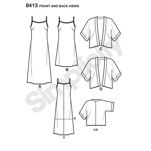 Simplicity Pattern 8413 Misses\' Slip Dress in Two Lengths and Kimono ...