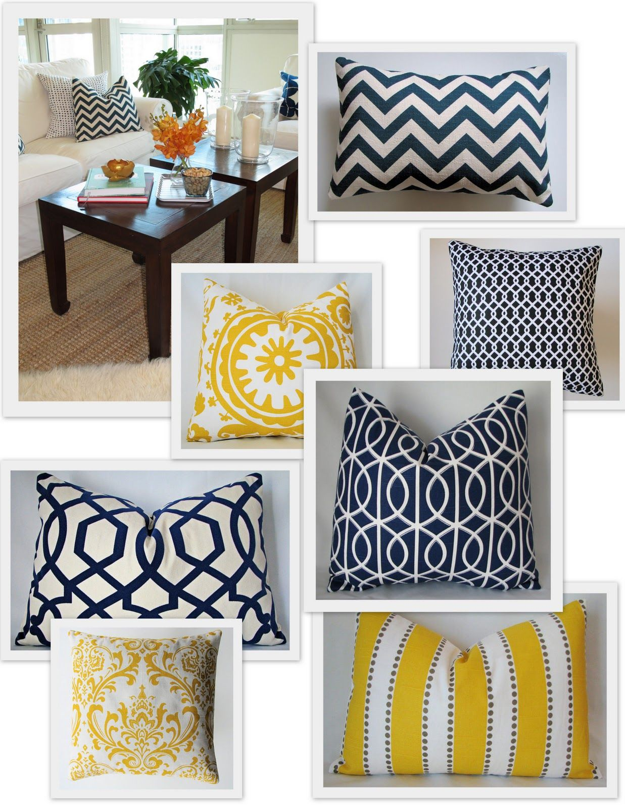 Navy blue and yellow living room - Navy Yellow Color Scheme Cute Pillows