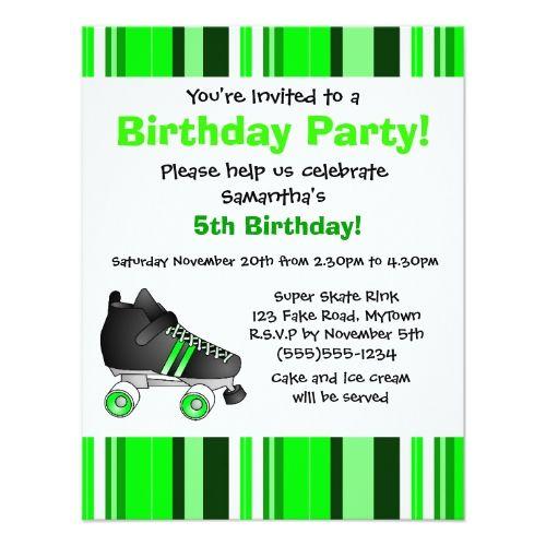 Roller Skate Birthday Invitations Green Roller Skate Birthday Party - Green Stripe Card
