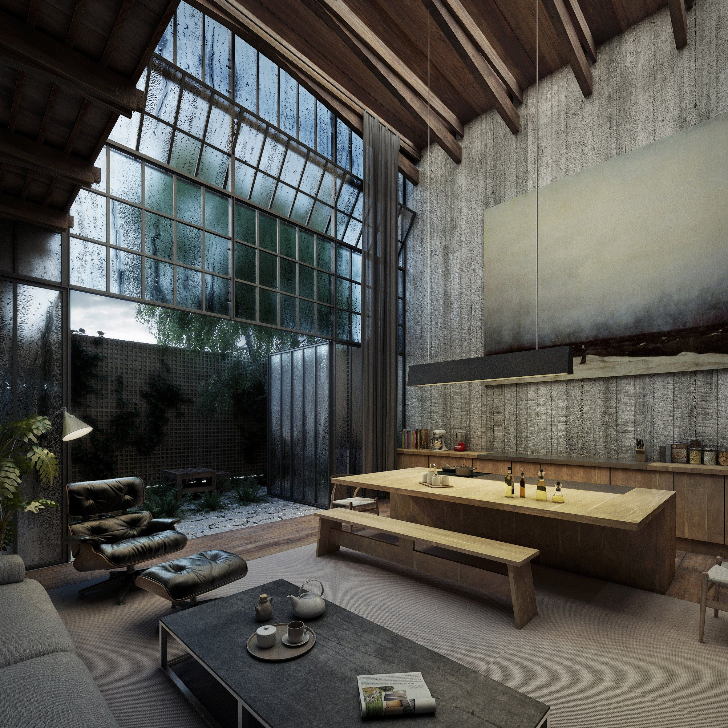 Industrial Kitchen Windows: These Renderings By Visualisation Studio VER Depict A