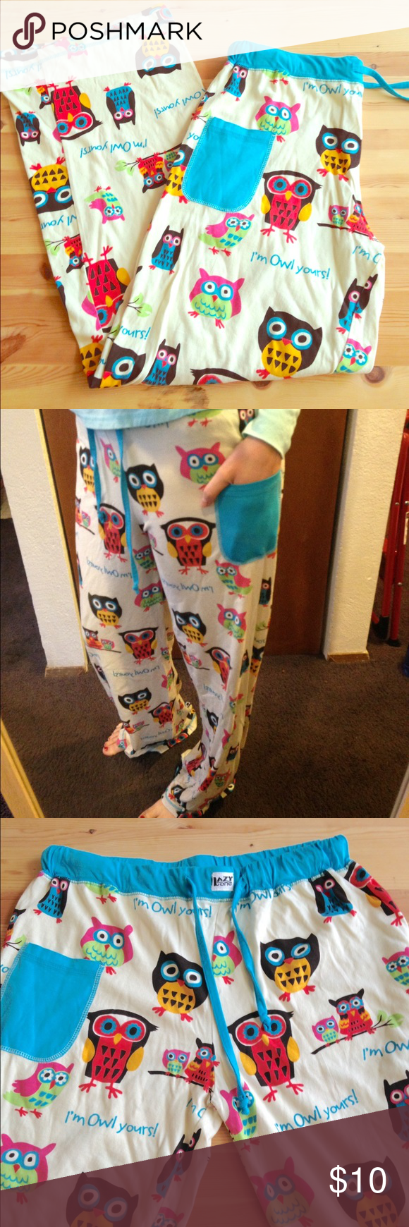 """💕Owl PJ pants😴 """"I'm owl yours!"""" Adorable owl PJ pants ☺️ very roomy fit with a drawstring. 100% cotton gently used. Size M/L. I'm 5'6"""" and they are a couple inches too long. Lazy One Pants"""