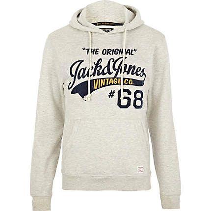 Grey Jack & Jones Vintage print hoodie - branded hoodies / sweatshirts -  hoodies / sweatshirts