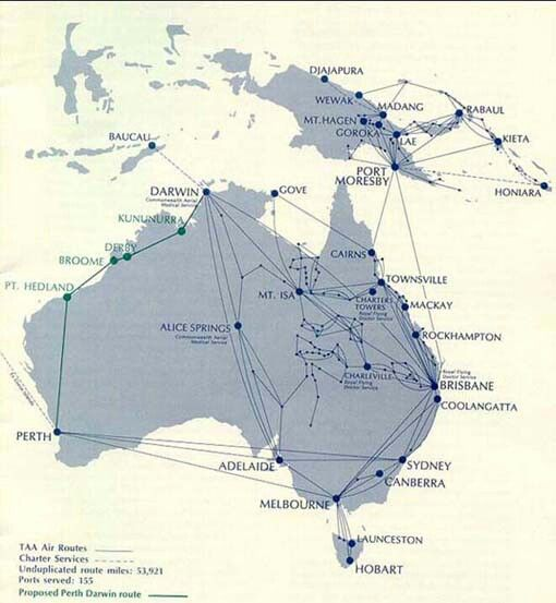 Taa trans australia airlines route maps pinterest australia taa trans australia airlines sciox Images