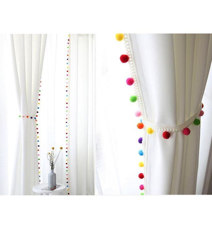 Pom Pom Blackout Curtains, Kids Blackout Curtains, White