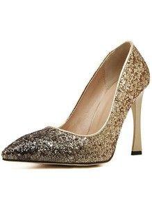 Gold Glitter Ombre High Heeled Pumps www.sheadline.com  http://www.sheadline.com/shoes.html  http://www.sheadline.com/shoes/pumps-heels.html