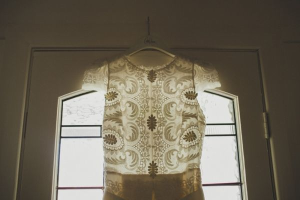 embroidered Collette Dinnigan wedding gown // photo by SammBlake.com