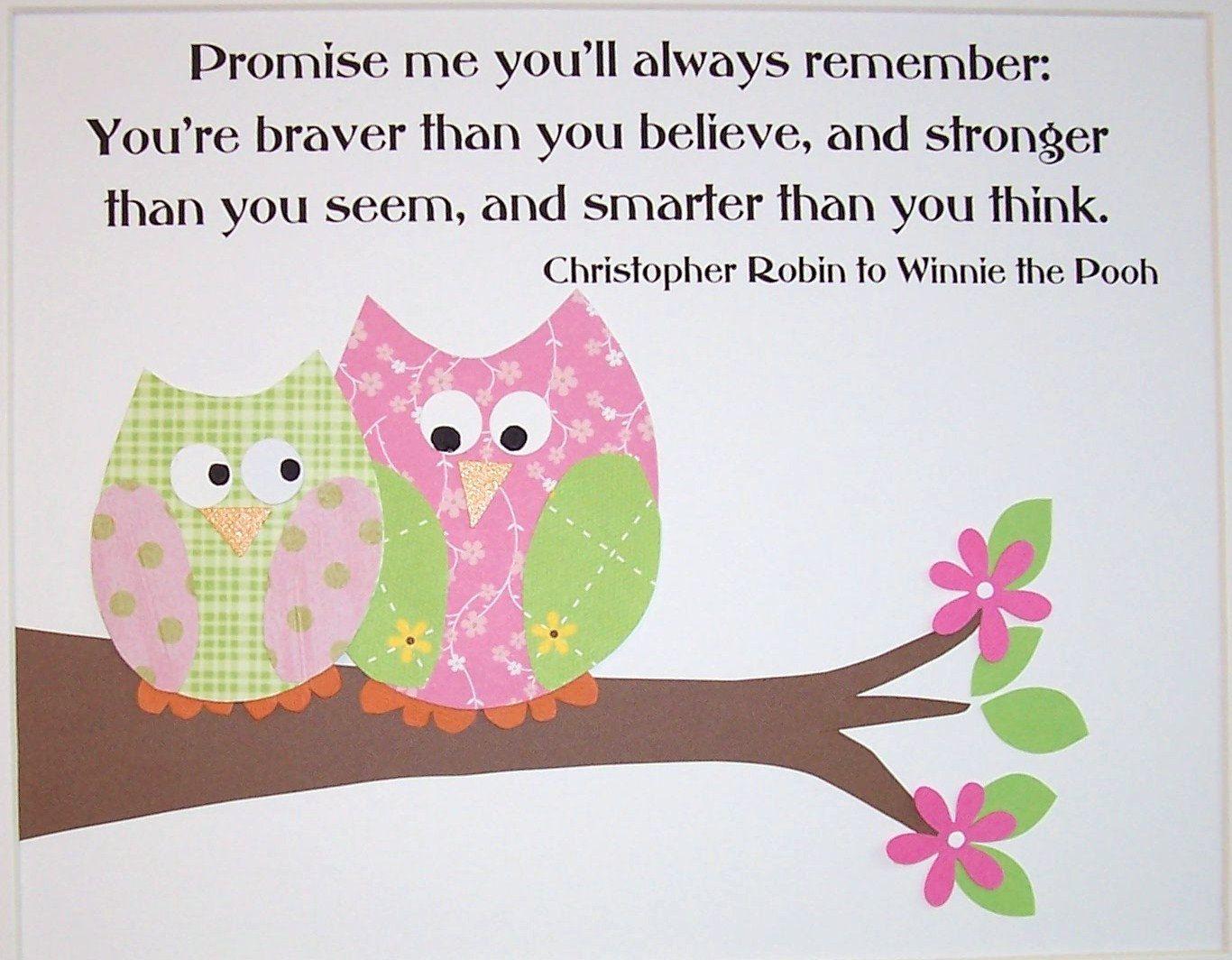 Love Bird Quotes Kids Wall Art Children's Decor Little Girl's Room Nursery Owls