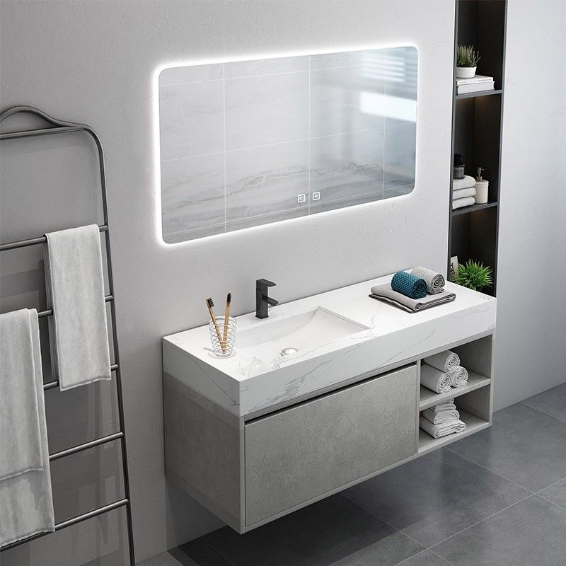 35 Floating Bathroom Vanity With Top Wall Mounted Vanity Cabinet Single Sink Vanity With Drawer Undermount Sink Floating Bathroom Vanities Simple Bathroom Modern Bathroom Vanity