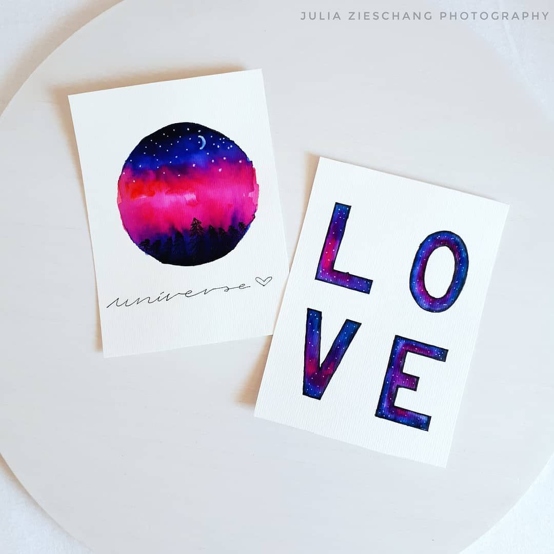 Watercolor Universe Aquarell Universum Handlettering Love