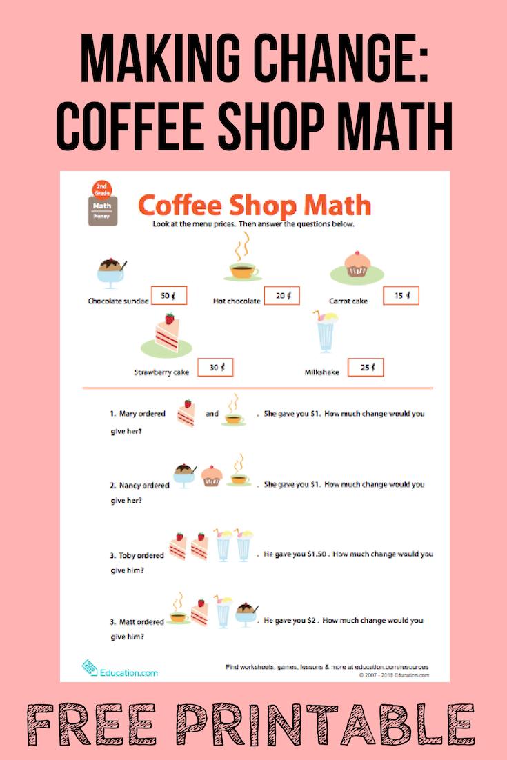Making Change Coffee Shop Math Math Educational