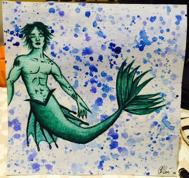 """""""Avtandil, My Merman"""" by Chloé O'Brien Galli, 2014. This is now framed and hanging...so beautiful."""
