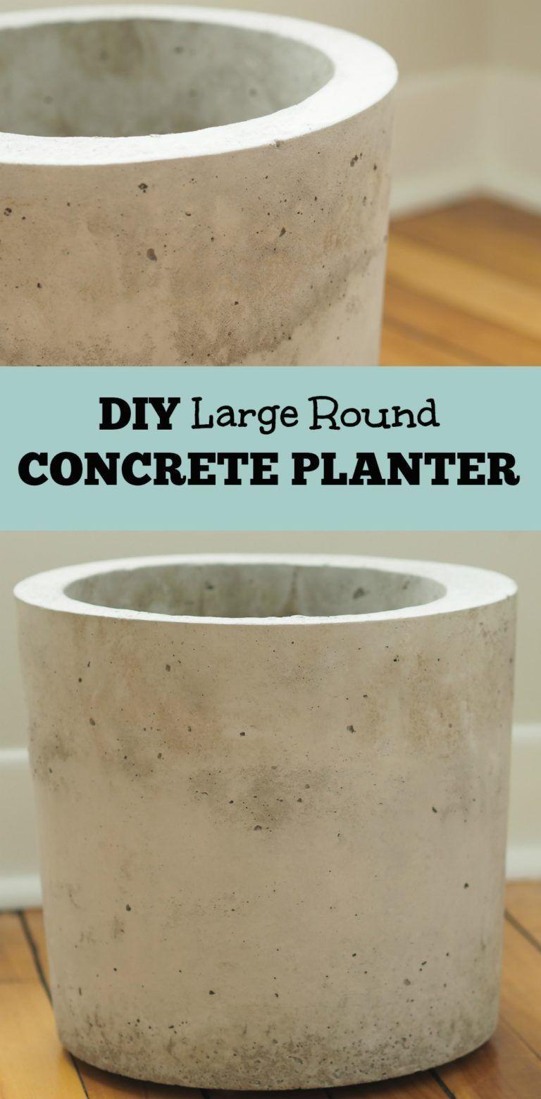Large Round Concrete Planter Diy Concrete Planters Concrete Planters Diy Planters