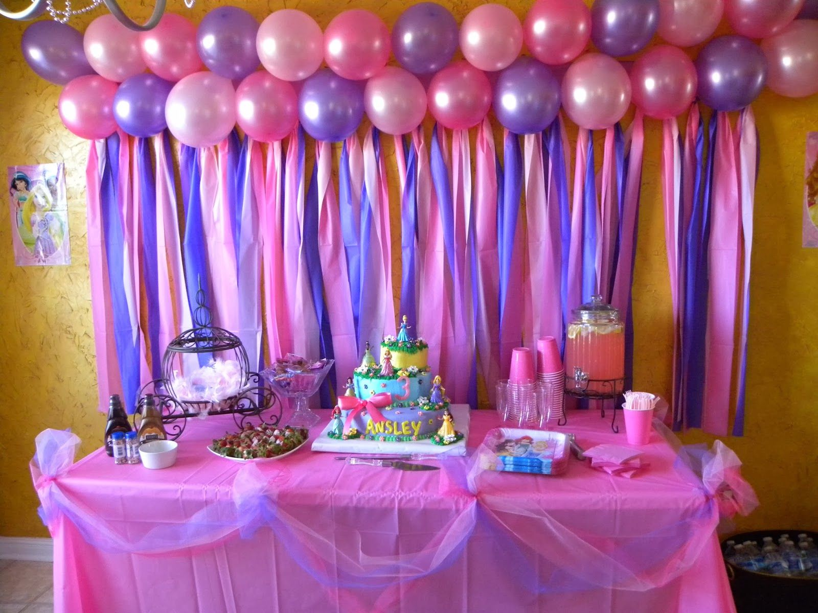 Pink Birthday Cake Decoration Ideas : Disney Princess Birthday. Cake table Ansley s 3rd ...