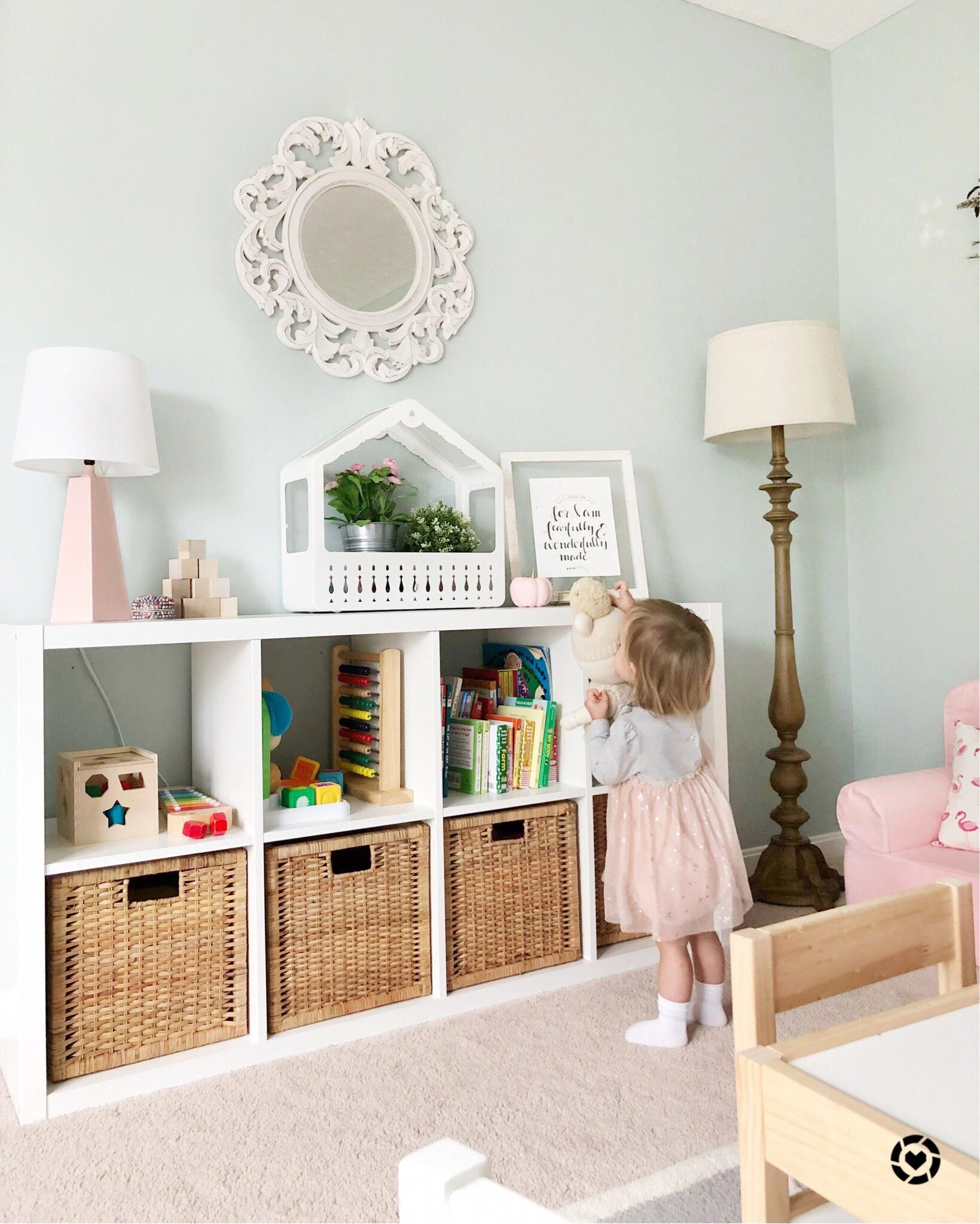 Ikea Kallax With Wicker Bins Sw Copen Blue Paint Pops Of Pinks And Feminine Playroom Ikeabedroomideas Kallax Kids Room Kid Room Decor Kids Bedroom