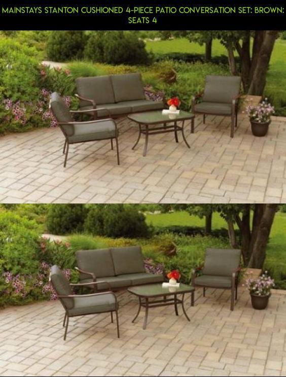 Mainstays Stanton Cushioned 4 Piece Patio Conversation Set: Brown: Seats 4  #shopping