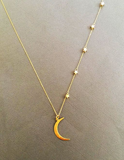 Large 24K Vermeil Crescent Moon and Star necklace I by Muse411