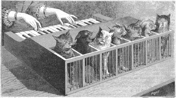Illustration of the cat piano from La Nature, Vol. 11 (1883) - Source.