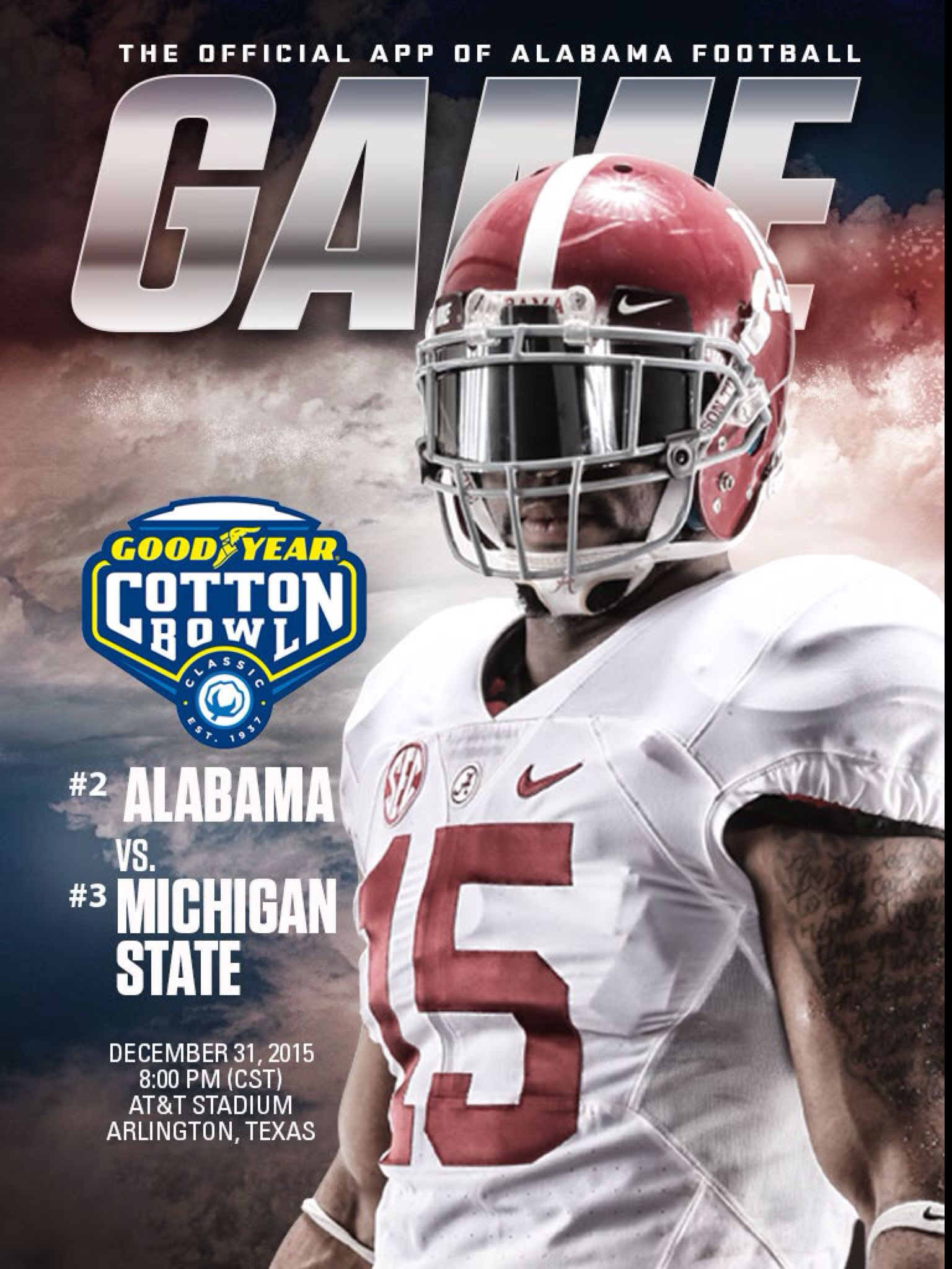 Alabama vs mich st digital gameday cover playoff cotton