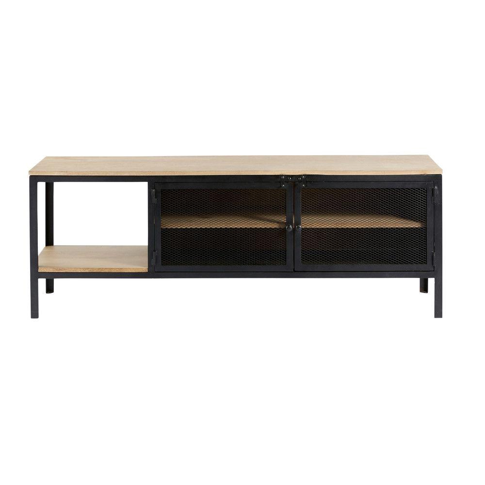 meuble tv indus en mtal noir et manguier massif